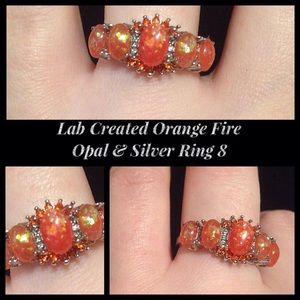 Lab Created Orange Fire Opal & CZ Silver Ring SZ 8